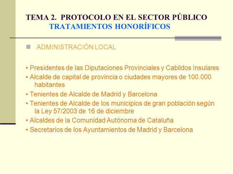 TEMA 2. PROTOCOLO EN EL SECTOR PÚBLICO TRATAMIENTOS HONORÍFICOS