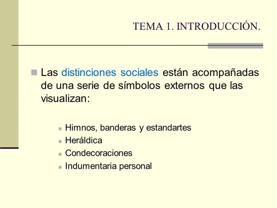 TEMA 1. INTRODUCCIÓN. Las distinciones sociales están acompañadas de una serie de símbolos externos que las visualizan:
