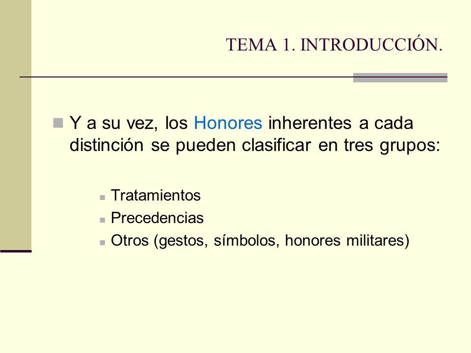TEMA 1. INTRODUCCIÓN. Y a su vez, los Honores inherentes a cada distinción se pueden clasificar en tres grupos: