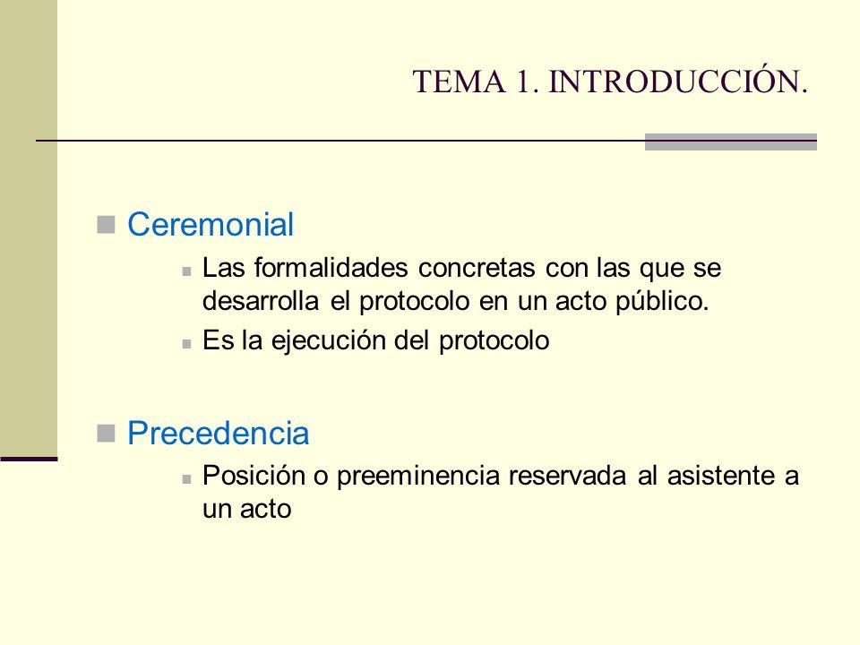 TEMA 1. INTRODUCCIÓN. Ceremonial Precedencia