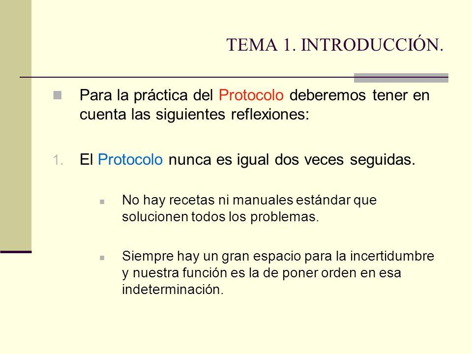 TEMA 1. INTRODUCCIÓN. Para la práctica del Protocolo deberemos tener en cuenta las siguientes reflexiones: