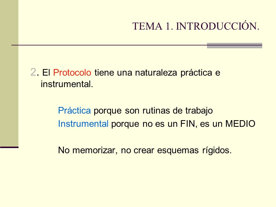 2. El Protocolo tiene una naturaleza práctica e instrumental.
