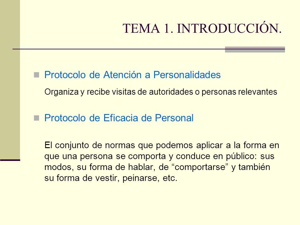 TEMA 1. INTRODUCCIÓN. Protocolo de Atención a Personalidades. Organiza y recibe visitas de autoridades o personas relevantes.