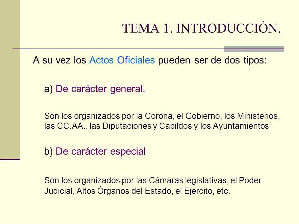 TEMA 1. INTRODUCCIÓN. A su vez los Actos Oficiales pueden ser de dos tipos: a) De carácter general.