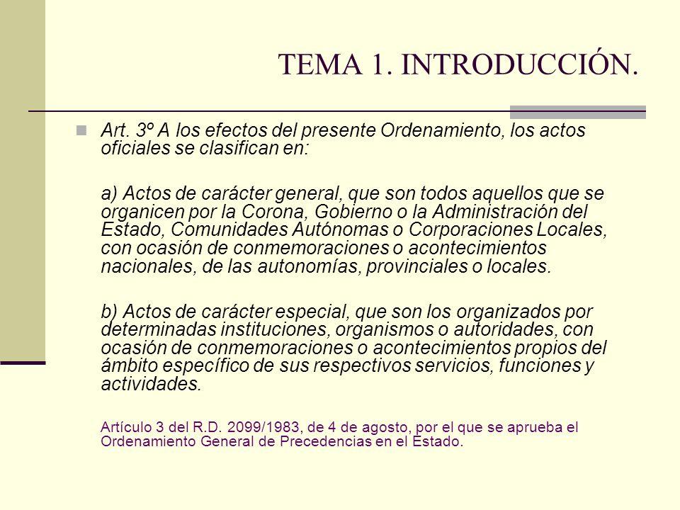 TEMA 1. INTRODUCCIÓN. Art. 3º A los efectos del presente Ordenamiento, los actos oficiales se clasifican en: