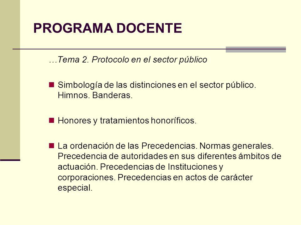 PROGRAMA DOCENTE …Tema 2. Protocolo en el sector público