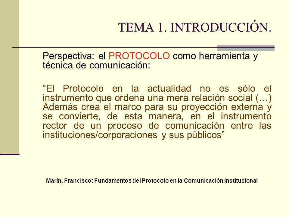 TEMA 1. INTRODUCCIÓN. Perspectiva: el PROTOCOLO como herramienta y técnica de comunicación: