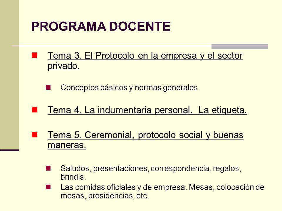 PROGRAMA DOCENTE Tema 3. El Protocolo en la empresa y el sector privado. Conceptos básicos y normas generales.