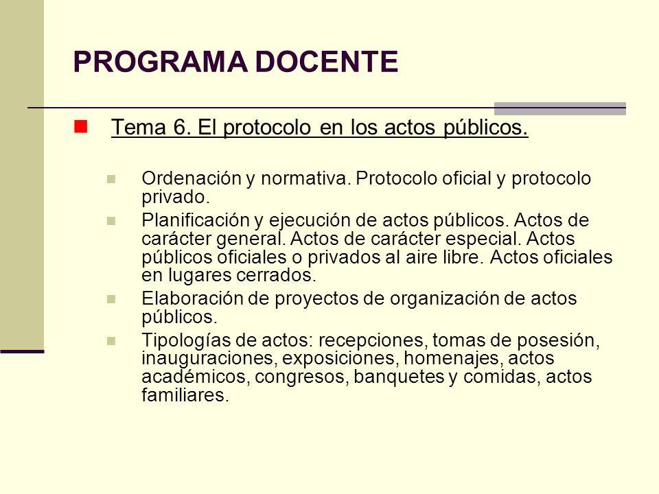 PROGRAMA DOCENTE Tema 6. El protocolo en los actos públicos.
