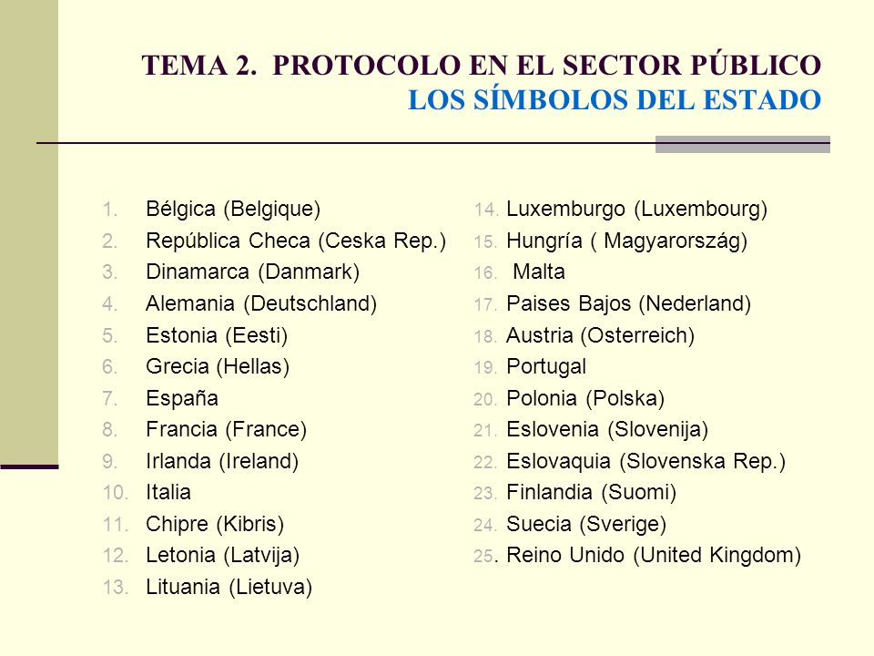 TEMA 2. PROTOCOLO EN EL SECTOR PÚBLICO LOS SÍMBOLOS DEL ESTADO