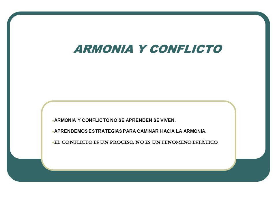ARMONIA Y CONFLICTO ARMONIA Y CONFLICTO NO SE APRENDEN SE VIVEN.