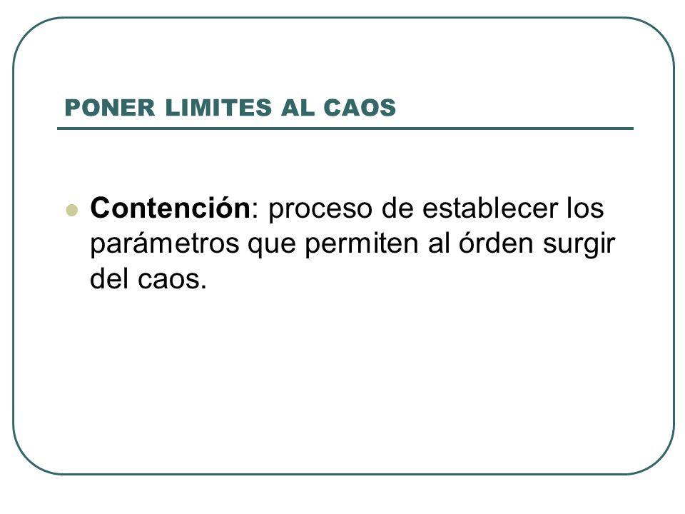 PONER LIMITES AL CAOS Contención: proceso de establecer los parámetros que permiten al órden surgir del caos.