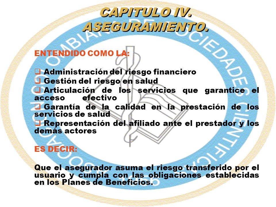 CAPITULO IV. ASEGURAMIENTO.