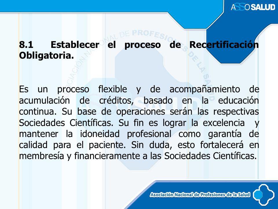 8.1 Establecer el proceso de Recertificación Obligatoria.