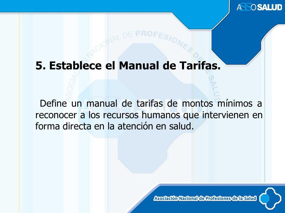 5. Establece el Manual de Tarifas.