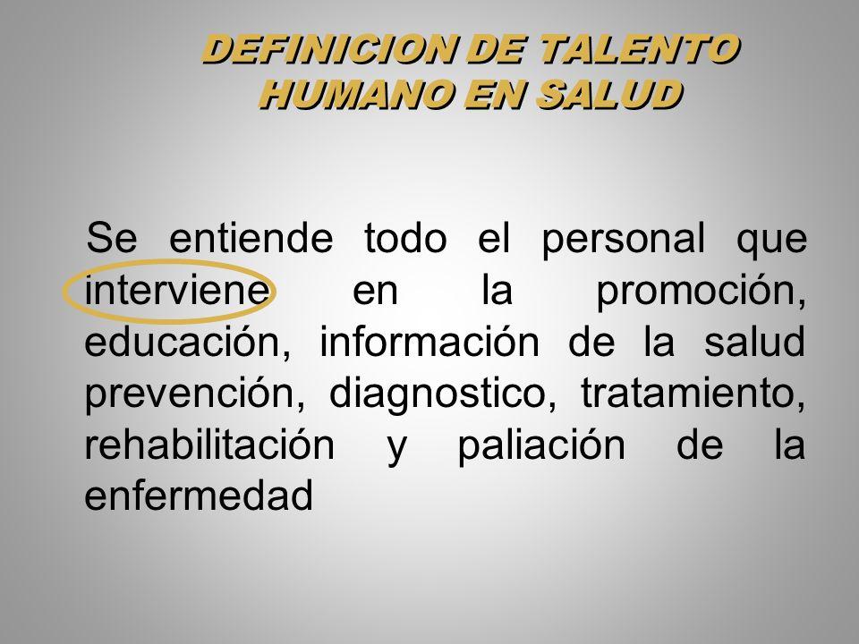 DEFINICION DE TALENTO HUMANO EN SALUD