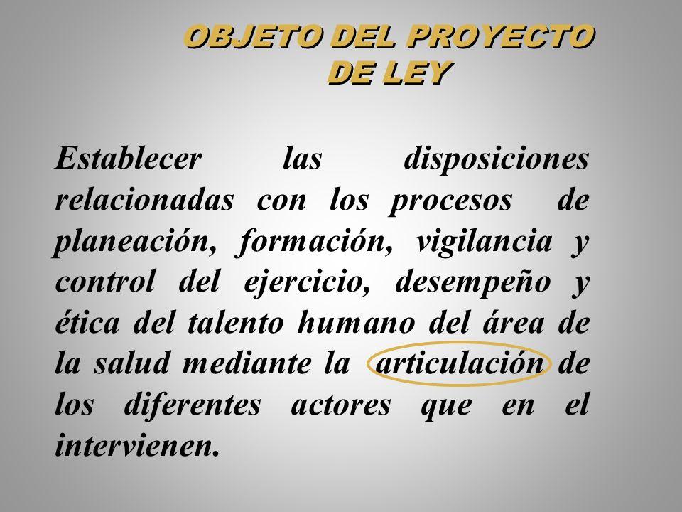 OBJETO DEL PROYECTO DE LEY