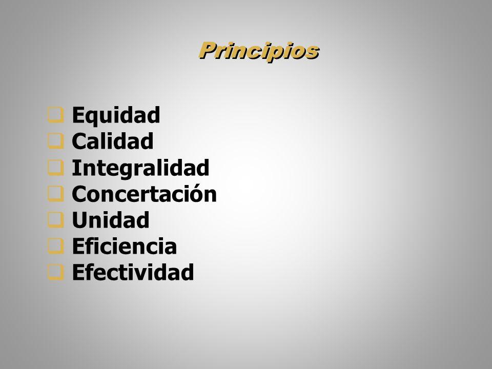 Principios Equidad Calidad Integralidad Concertación Unidad Eficiencia Efectividad