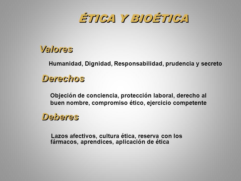ÉTICA Y BIOÉTICA Valores Derechos Deberes