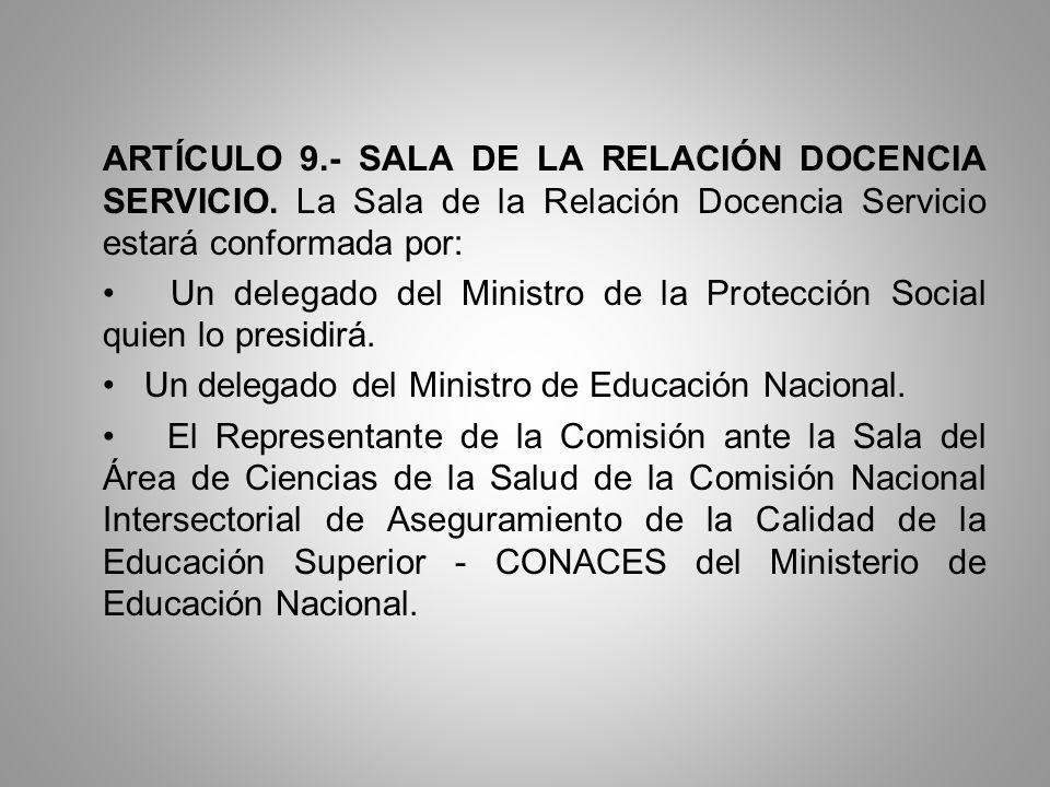 ARTÍCULO 9. - SALA DE LA RELACIÓN DOCENCIA SERVICIO