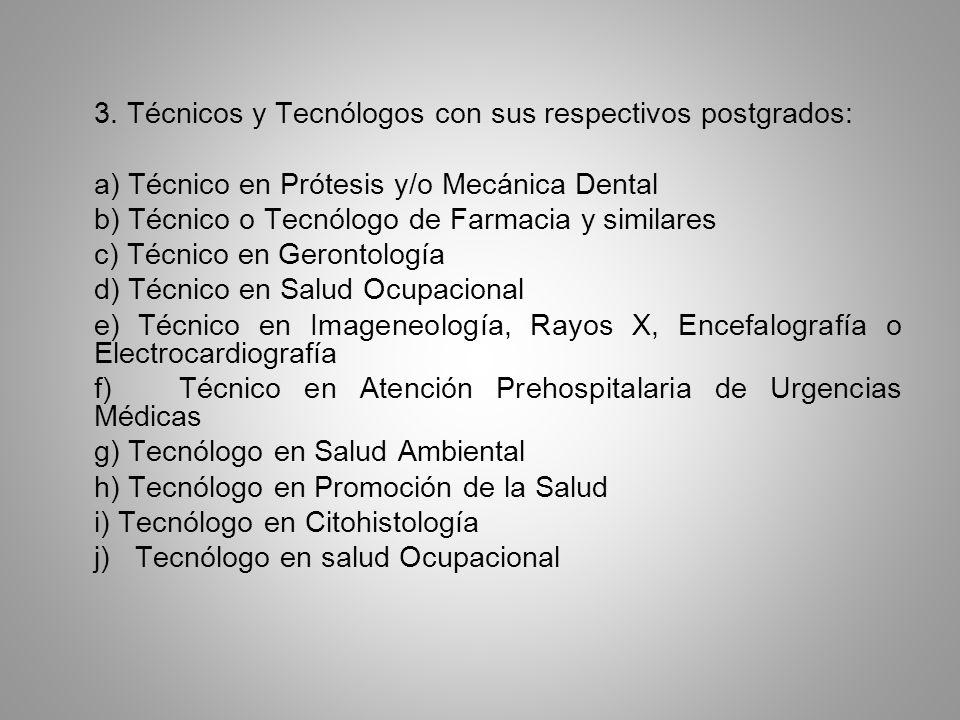 3. Técnicos y Tecnólogos con sus respectivos postgrados: