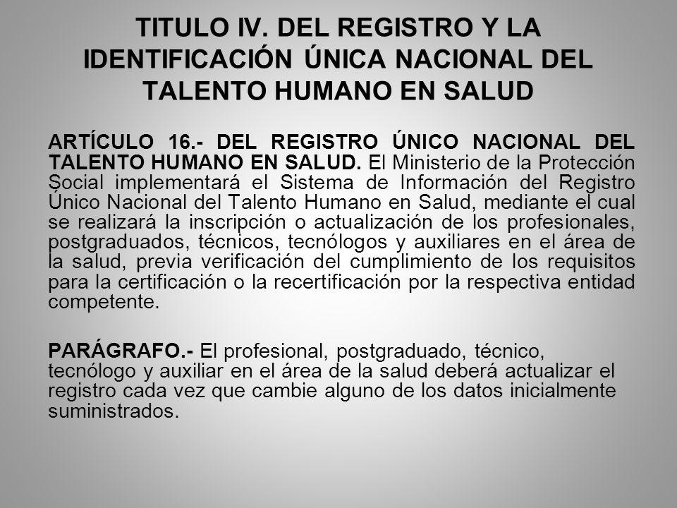 TITULO IV. DEL REGISTRO Y LA IDENTIFICACIÓN ÚNICA NACIONAL DEL TALENTO HUMANO EN SALUD
