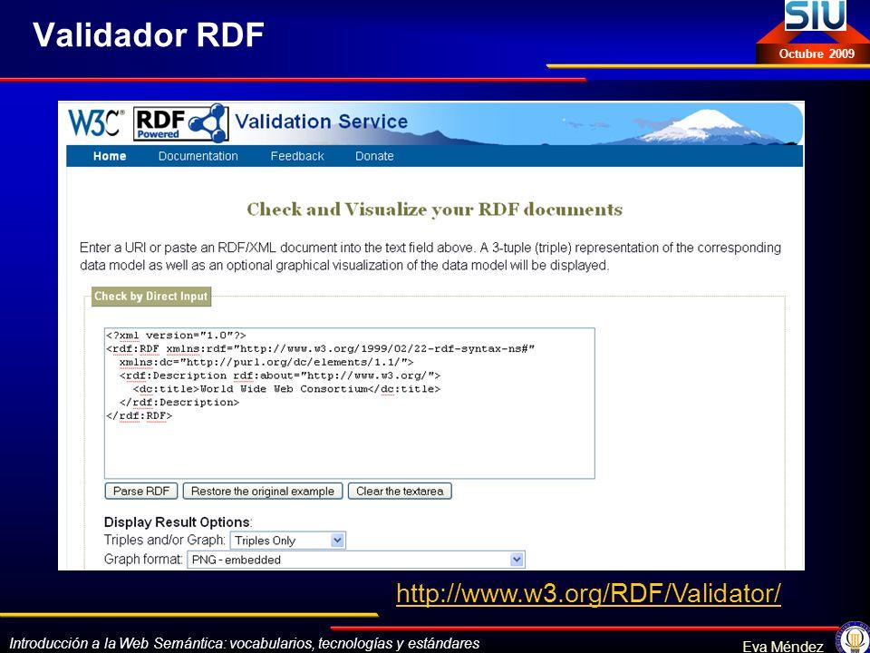 Validador RDF http://www.w3.org/RDF/Validator/
