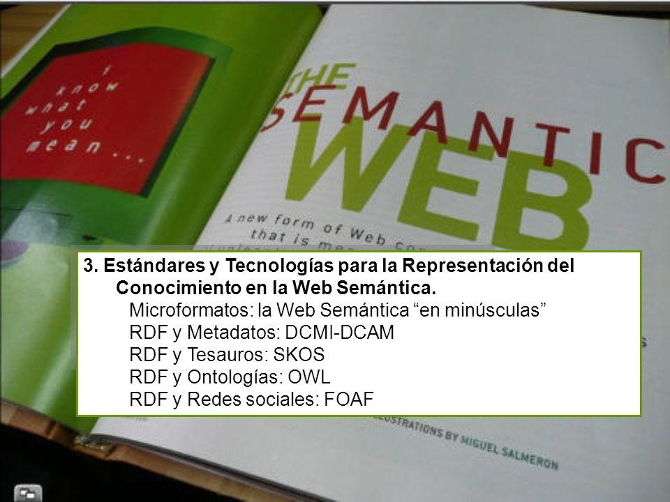 3. Estándares y Tecnologías para la Representación del Conocimiento en la Web Semántica.