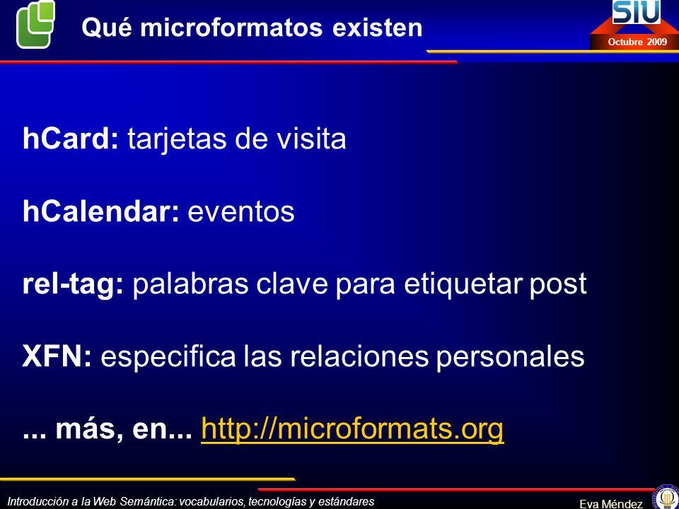 Qué microformatos existen