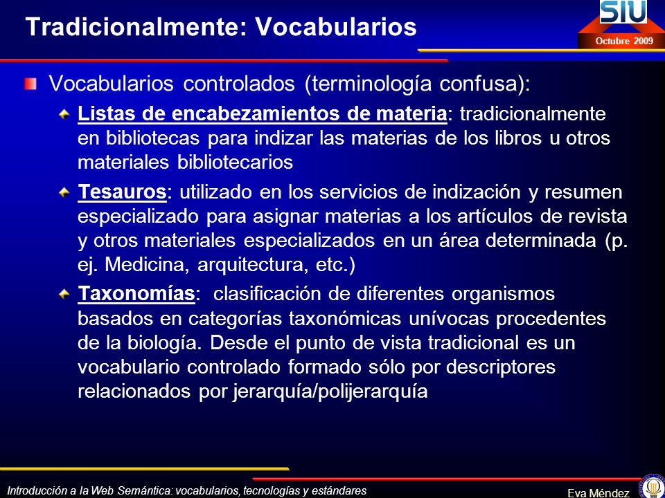 Tradicionalmente: Vocabularios