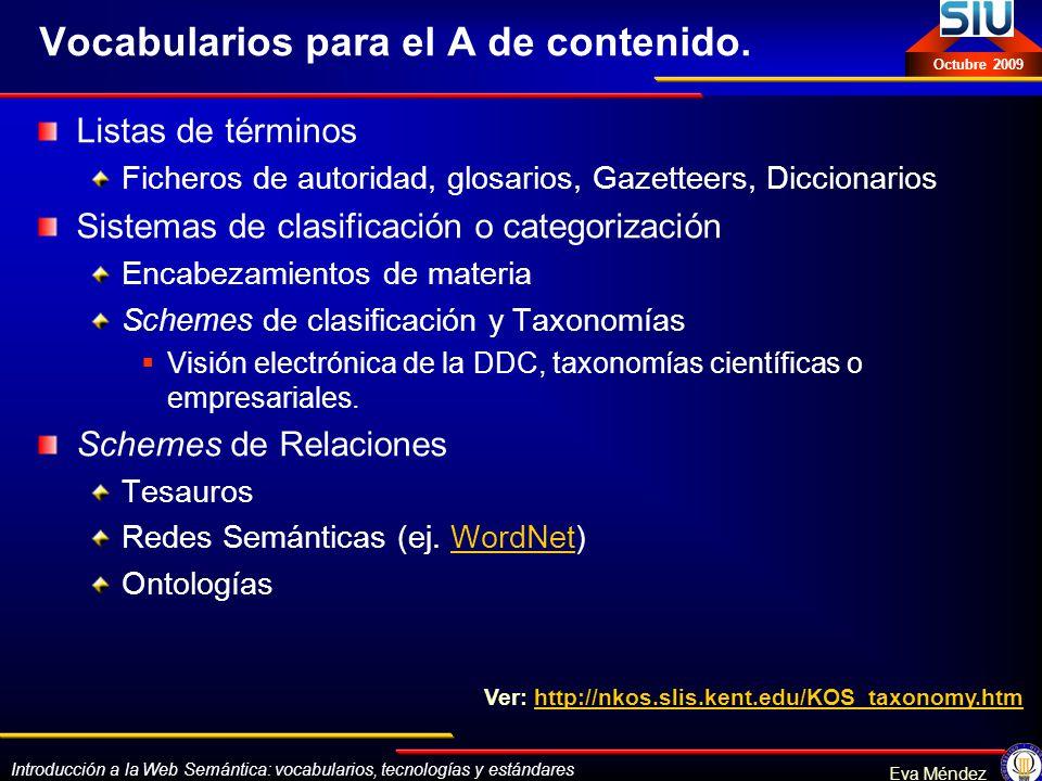 Vocabularios para el A de contenido.