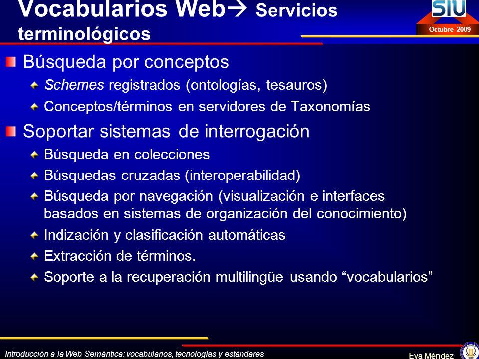 Vocabularios Web Servicios terminológicos
