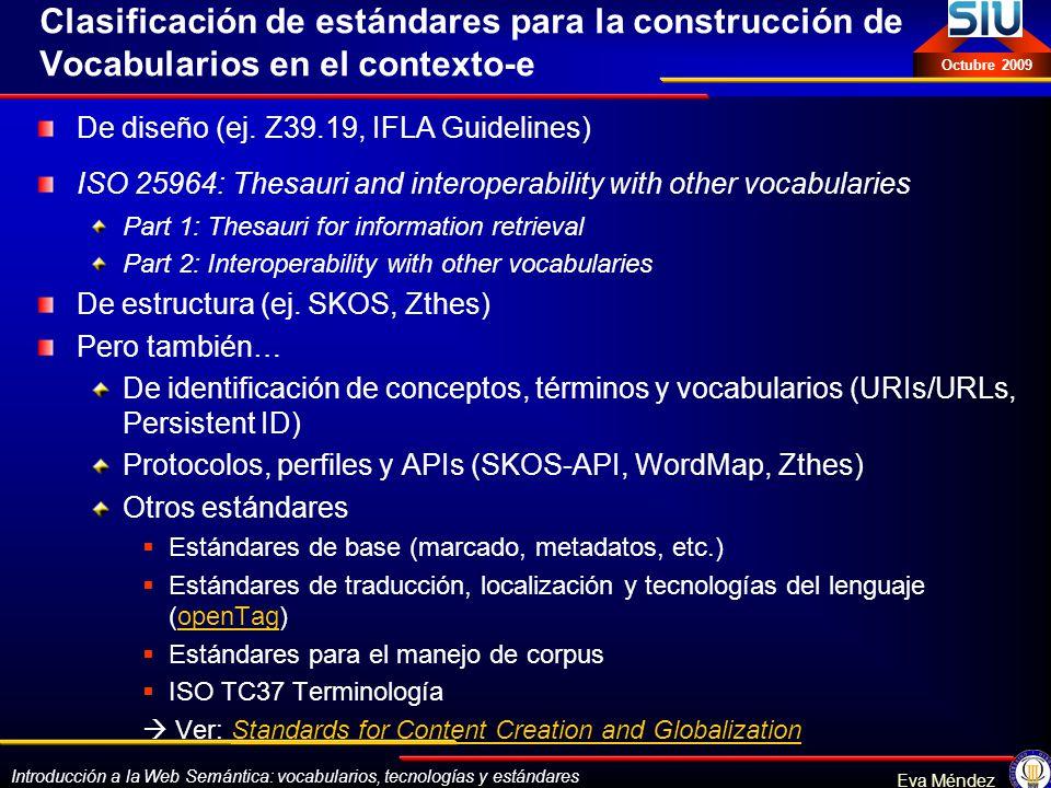 Clasificación de estándares para la construcción de Vocabularios en el contexto-e