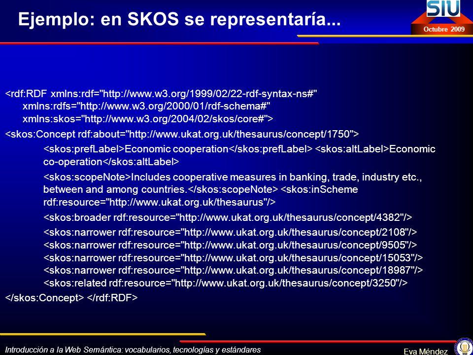 Ejemplo: en SKOS se representaría...