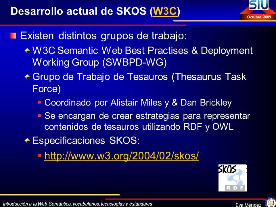 Desarrollo actual de SKOS (W3C)