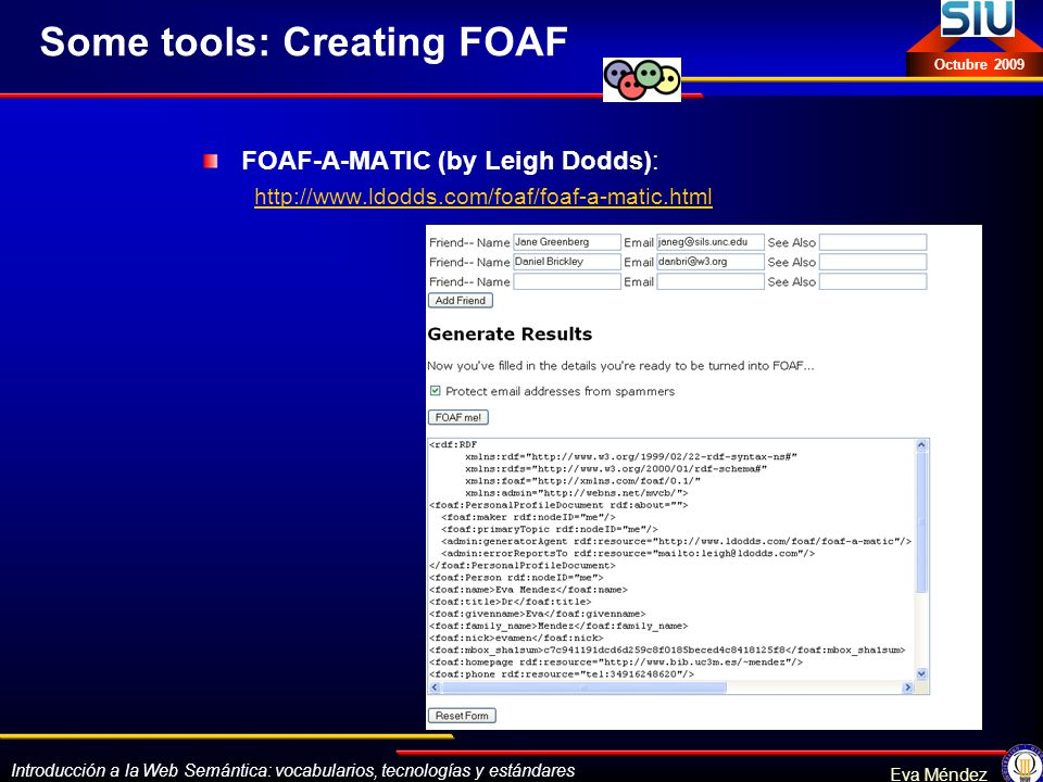 Some tools: Creating FOAF
