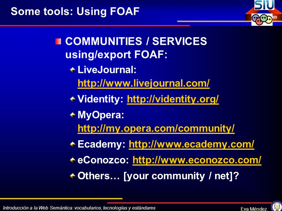 COMMUNITIES / SERVICES using/export FOAF: