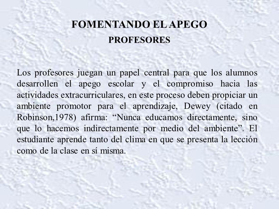 FOMENTANDO EL APEGO PROFESORES