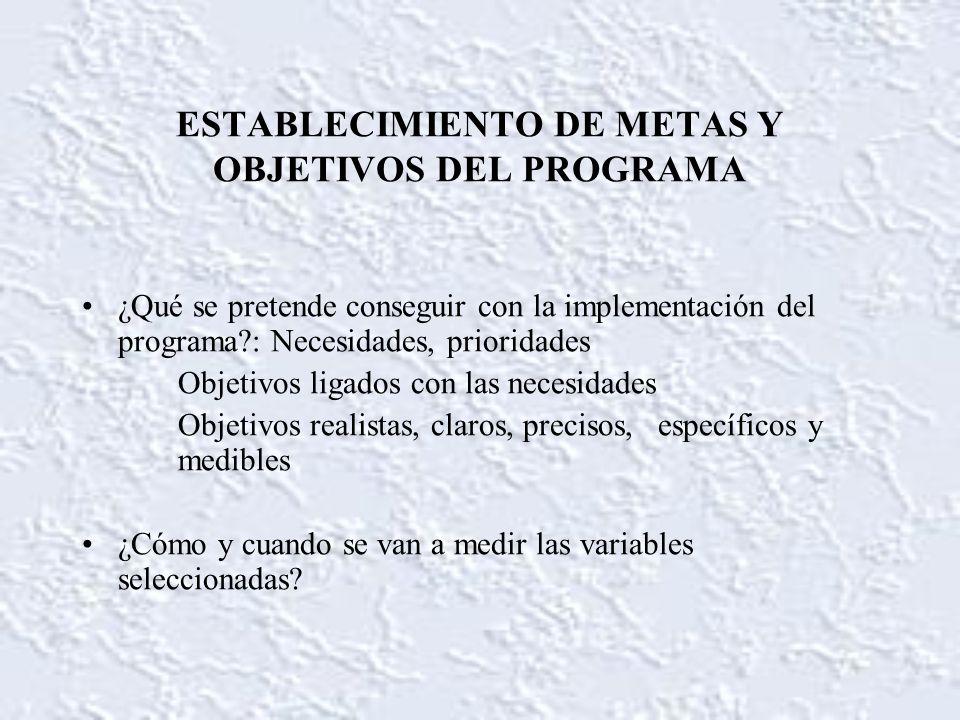 ESTABLECIMIENTO DE METAS Y OBJETIVOS DEL PROGRAMA