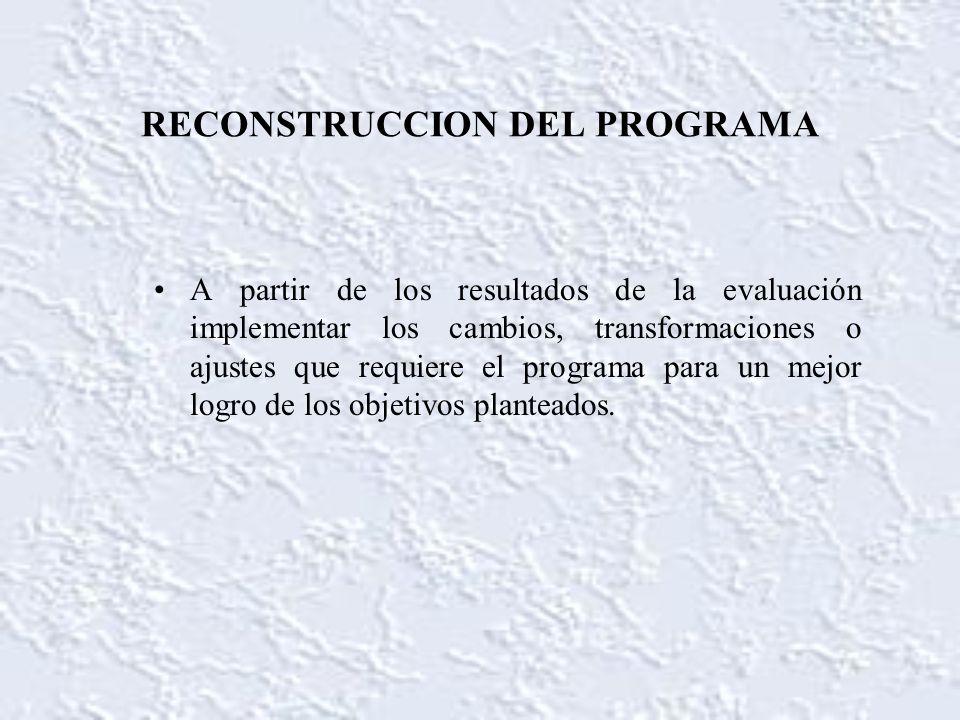RECONSTRUCCION DEL PROGRAMA