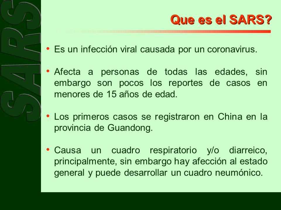 Que es el SARS Es un infección viral causada por un coronavirus.