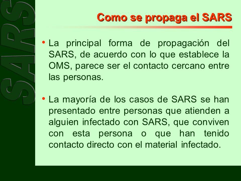 Como se propaga el SARS