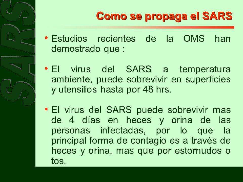 Como se propaga el SARS Estudios recientes de la OMS han demostrado que :