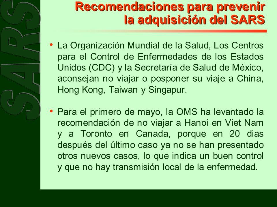 Recomendaciones para prevenir la adquisición del SARS
