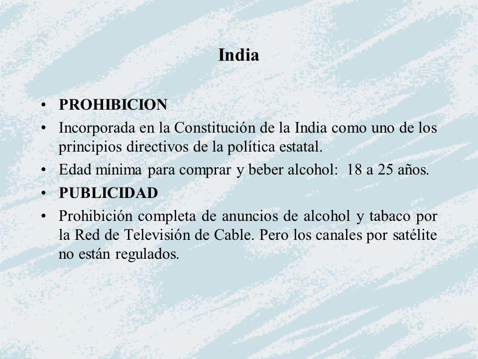 India PROHIBICION. Incorporada en la Constitución de la India como uno de los principios directivos de la política estatal.
