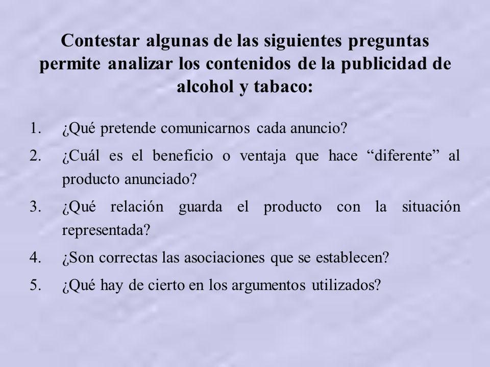 Contestar algunas de las siguientes preguntas permite analizar los contenidos de la publicidad de alcohol y tabaco: