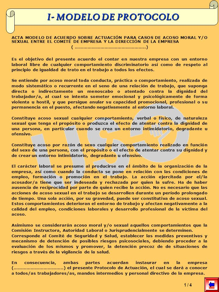 I- MODELO DE PROTOCOLO 1 / 4