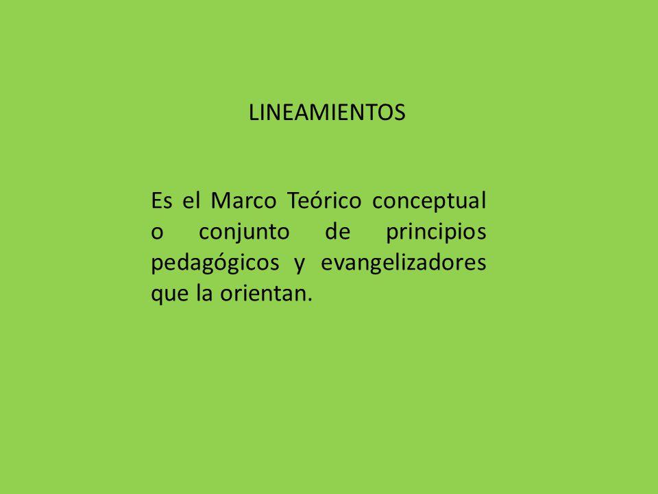 LINEAMIENTOS Es el Marco Teórico conceptual o conjunto de principios pedagógicos y evangelizadores que la orientan.