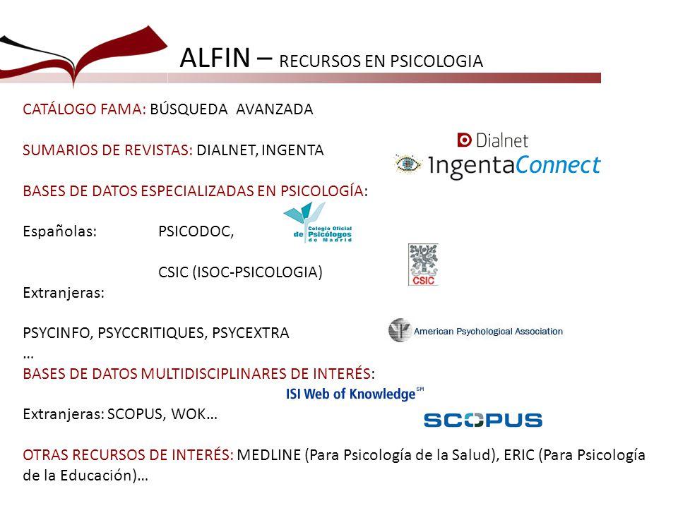 ALFIN – RECURSOS EN PSICOLOGIA