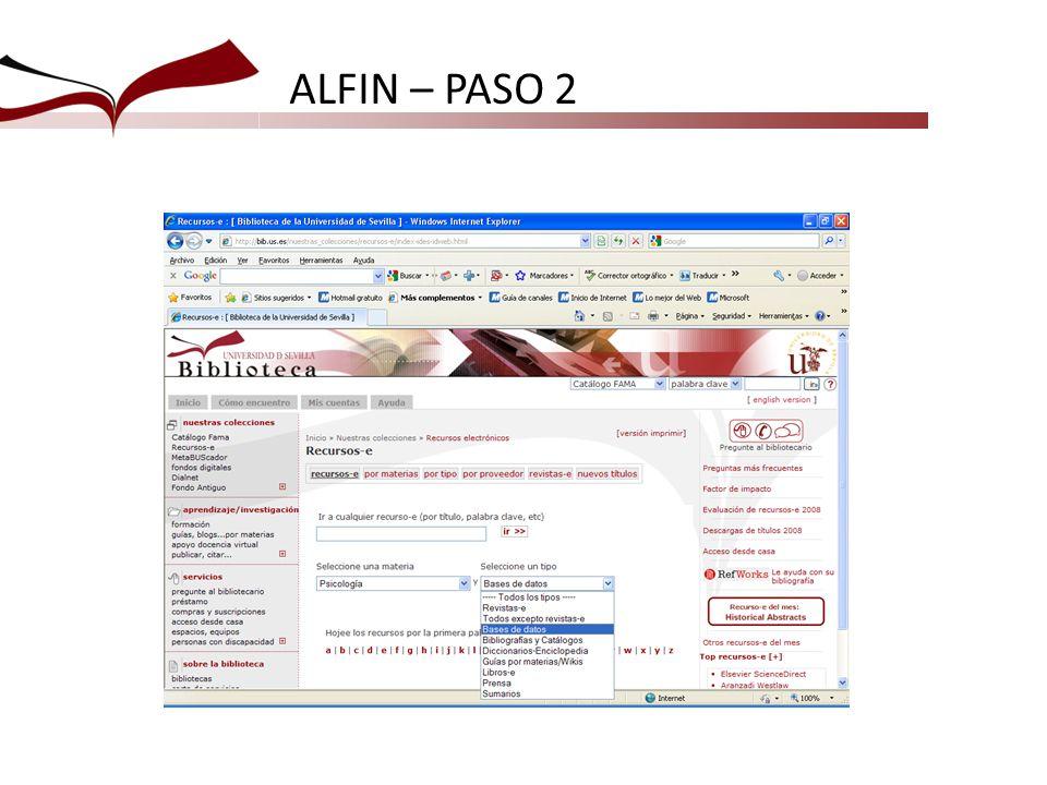 ALFIN – PASO 2 A partir de esta pantalla entraremos en las bases de datos más interesantes para los alumnos.